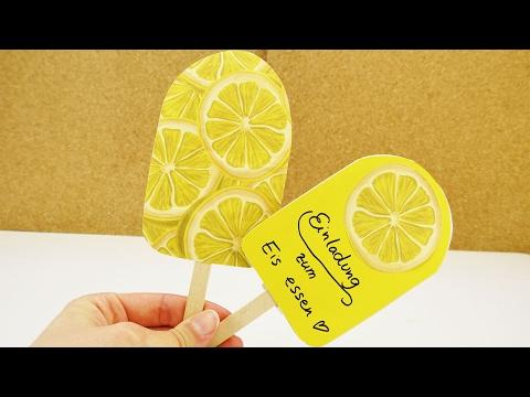 DIY EIS Am Stiel Selber Machen | Einladung Oder DEKO | Einfaches Eis Aus  Buntem Papier