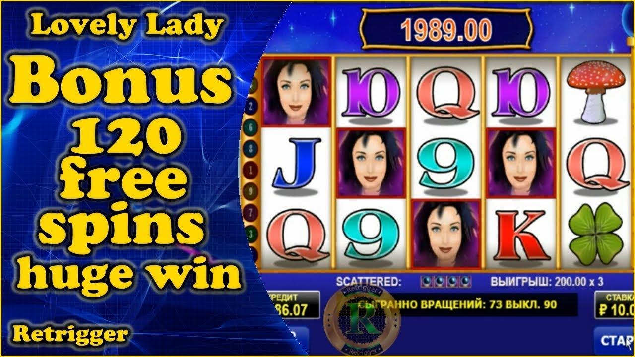 Lovely Lady Bonus 120 Free Spins Huge Win Amatic Slot Youtube