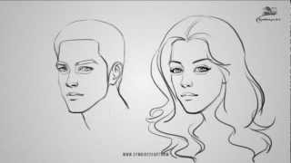 How to Draw a male and female face