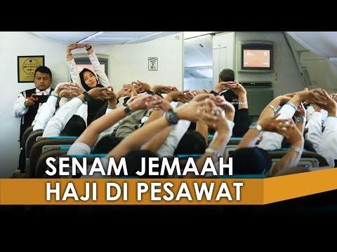 Tempuh Perjalanan 9 Jam, Begini  Jemaah Haji Senam di Dalam Pesawat