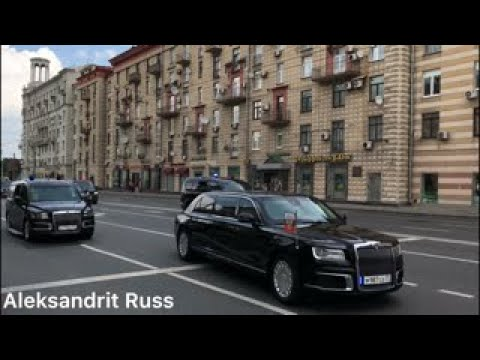 Путин В.В. и его кортеж новых авто Аурус Сенат. V. Putin And His Motorcade Of New Cars Aurus Senat.