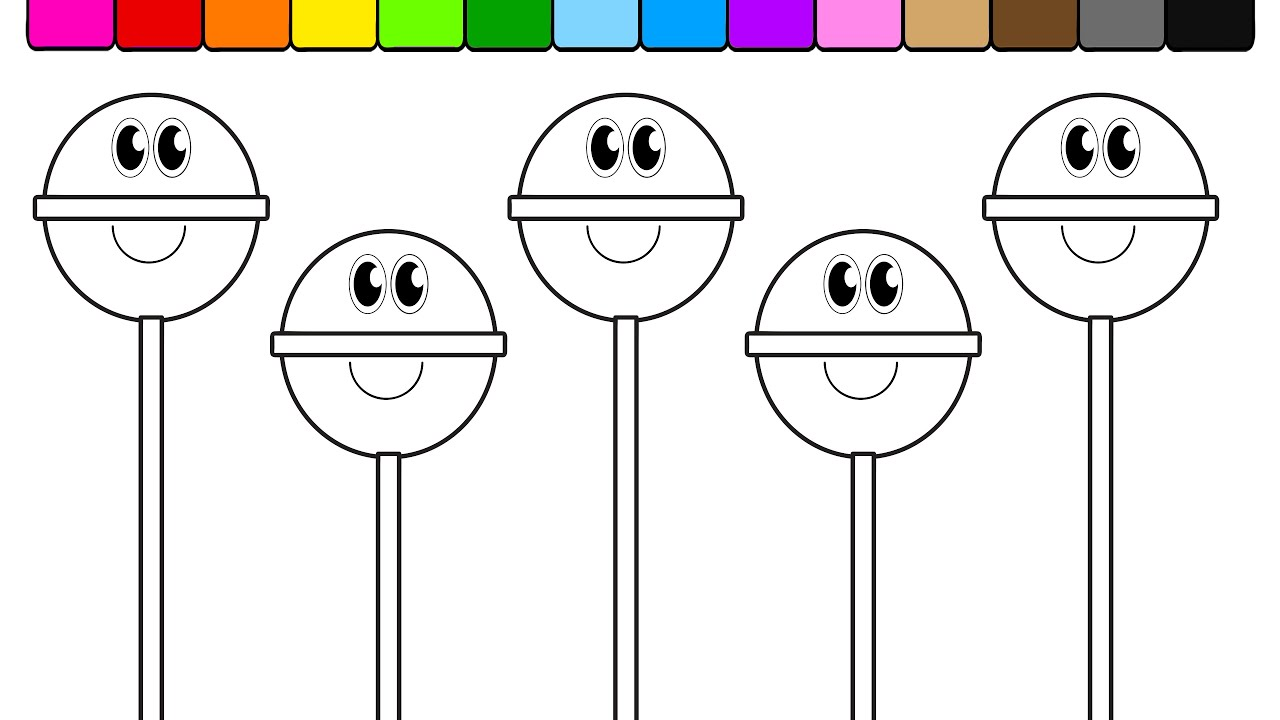 learn colors for kids and color this smiley face popsicle