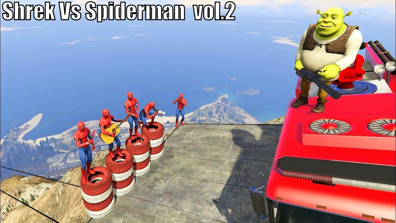 GTA 5 Crazy / Epic Ragdolls Shrek Vs Spiderman vol.2 (Euphoria Physics / Funny Moments ) Fails