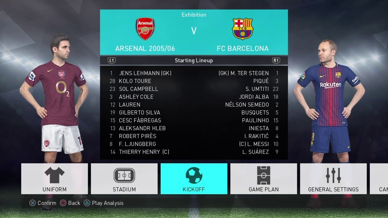 best website f4153 4be62 PES 2018 Arsenal 2005/06 vs Barcelona