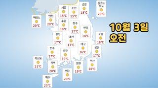 [날씨] 21년 10월 3일  일요일 날씨와 미세먼지 …