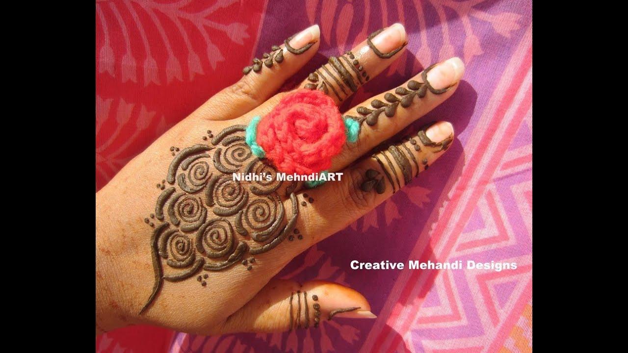 Henna Mehndi S : New fashionable roses simple henna mehndi design tutorial youtube