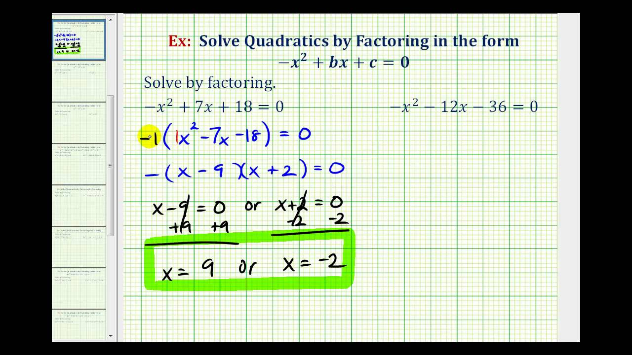 Ex Factor And Solve Quadratic Equation Trinomial A 1 Youtube
