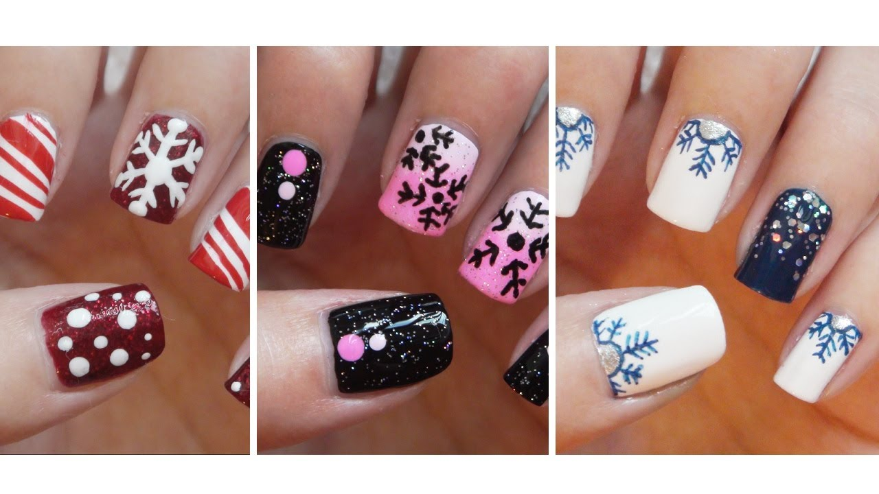 snowflake nail art three easy designs youtube - Hot Designs Nail Art Ideas