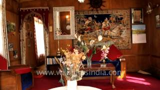 Inside view of a houseboat on Dal Lake: Srinagar