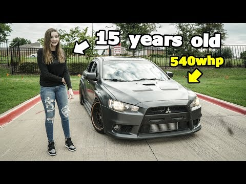 Little sister drives my 540whp WIDEBODY EVO X!