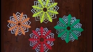 How to make paper snowflake/Christmas decoration/quick and easy