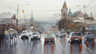 Watercolor scenery painting demo - Rainy Day in Vancouver
