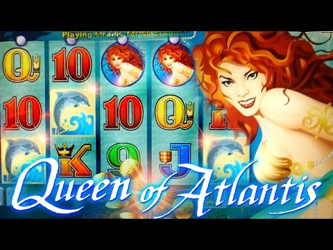 Queen of Atlantis BIG WIN BONUS + LIVE TOP HIT!!!  - 5c Aristocrat Video Slots