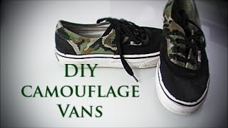 DIY camouflage vans/shoes + military Outfit