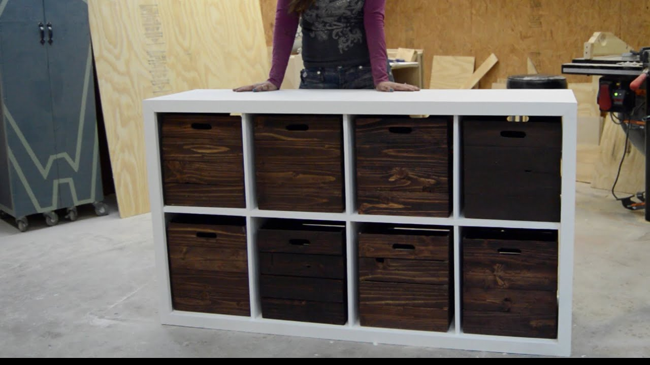 DIY Toy Storage Unit with Wooden Crates - YouTube