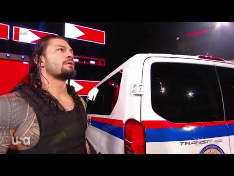 First time RomanReigns entries with police van bt destroyed by Braun strowman 6th september.....