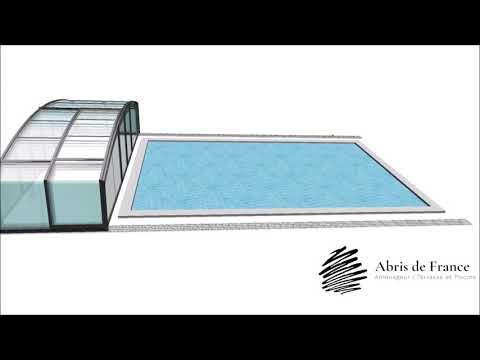 abris de piscine mi-haut coulissant video de fonctionnement
