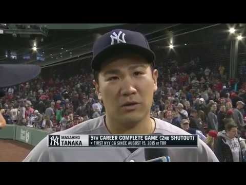 Masahiro Tanaka on his complete game shutout over the Red Sox in Boston