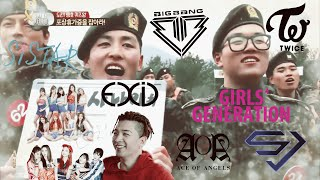 Korean Army reacts to Kpop groups! (Compilation)