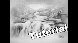 WATERFALL drawing in graphite and pecil eraser very easy for beginners