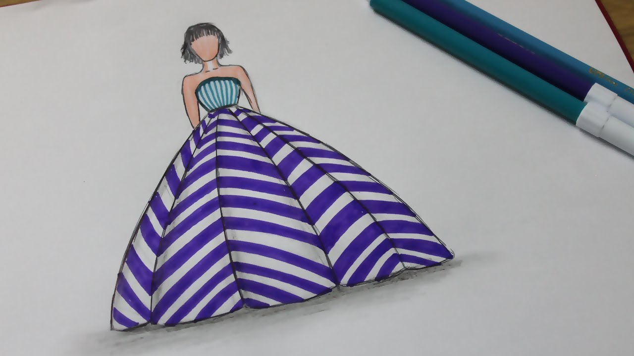 How to draw dresses fashion - Easy Dress Drawing - YouTube