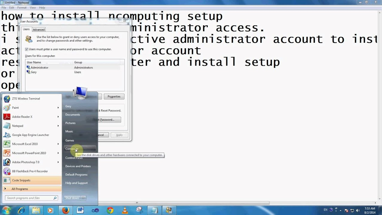 install ncomputing software setup