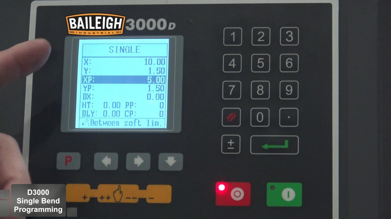 Baileigh 3000D Press Brake Controler Single Bend Mode