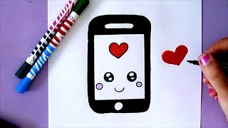 HOW TO DRAW A CUTE IPHONE - EASY DRAWING
