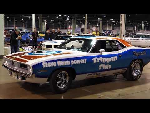 BIG CAM Trippin Fish 1970 Plymouth Barracuda CUDA Drag Car At Muscle Car Corvette Nationals Car Show