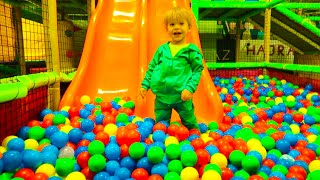 Leo Ride on Huge Orange Slide in Ball Pit