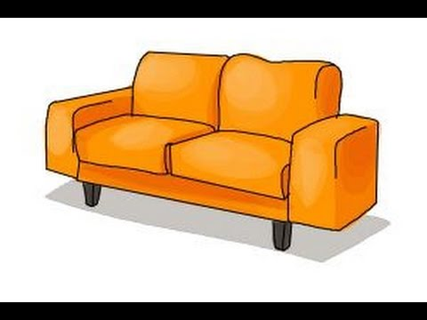 How to draw a sofa - YouTube
