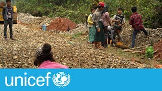 Children forced to pave roads to feed families in Myanmar   UNICEF