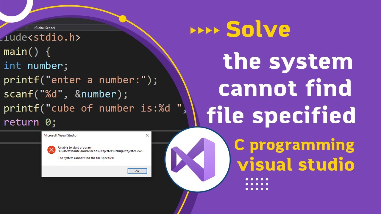 error visual studio c c++ the system cannot find file specified