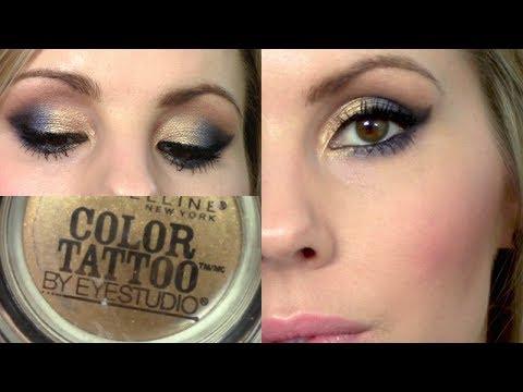 Eyeshadow tutorial bold gold maybelline color tattoo for Color tattoo maybelline