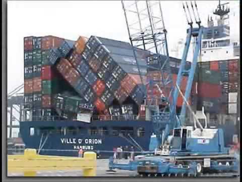 container ship collision avi