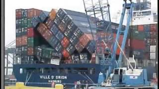 container ship collision avi
