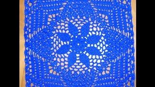 Большой квадратный мотив для пледа или скатерти. Часть 1. Crocheted big motive