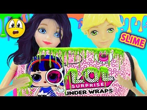 LOL Under Wraps de SLIME! | Marinette y Adrien abren LOL underwraps llenade slime y muchos juguetes