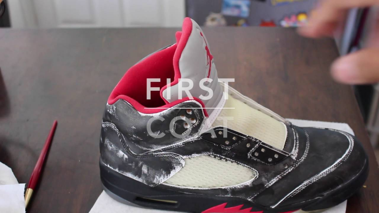 ca4fa6d1c28f44 Nike Air Jordan 5 Fire Red Retro Custom Black Out - YouTube
