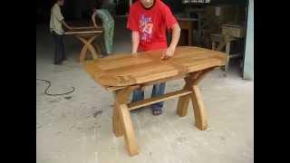 Oval X Leg Cross Dining Table 1.3m - 1.8m X 80cm Wide X 790mm High