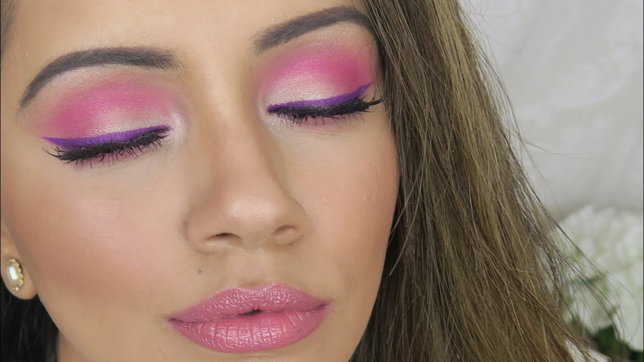 Hot Pink Makeup Tutorial Lilac Eyeliner Youtube