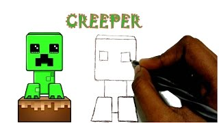 How to draw minecraft - Creeper