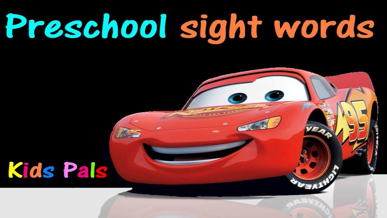 preschool sight words  disney cars  high frequency words