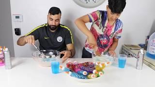 3 Colors of Glue Slime Challenge,adel vs papa