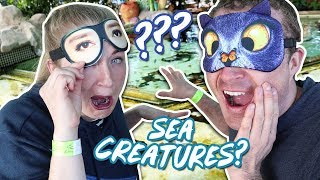 Touching Slimy Sea Creatures Blindfolded Guessing Challenge / Becca And Ryan Show