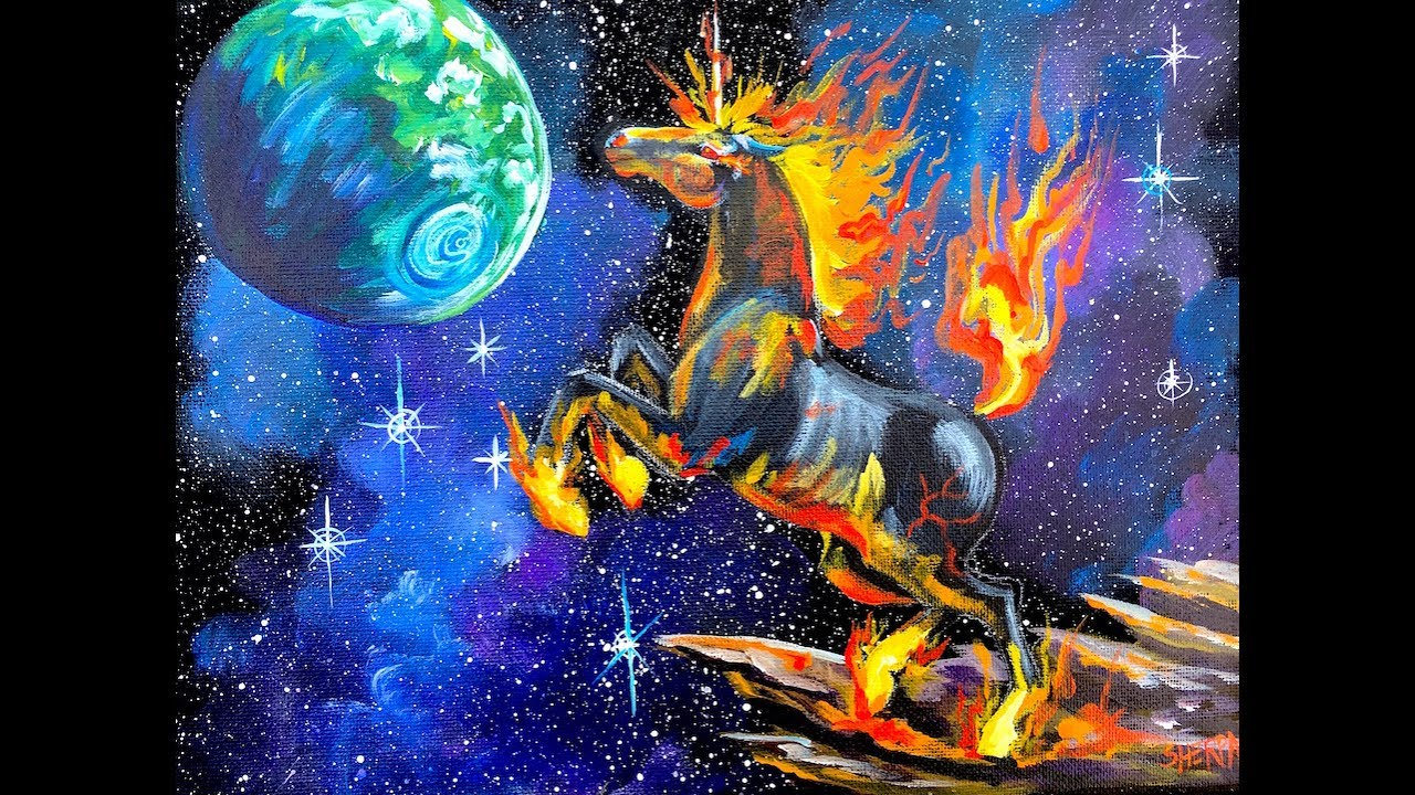 Beginner Acrylic Painting tutorial Galaxy Fire Unicorn step by step