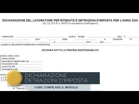 Download Come compilare modulo detrazioni d'imposta