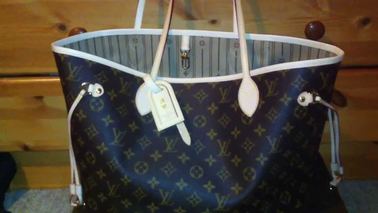 Review of my new Louis Vuitton Neverfull MM monogram canvas - YouTube 887f9076ab84f