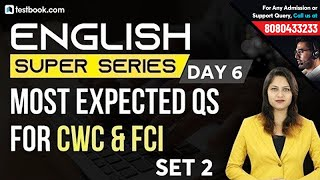 Expected FCI English Question Paper 2019 Set 2 | English Super Series Day 6 | FCI Admit Card 2019