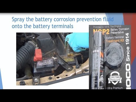 Car battery's terminal cleaning w/ battery cleaner & w/ NCP2 corrosion preventive fluid